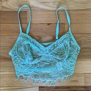 Cute Light Blue Lace Crop Top
